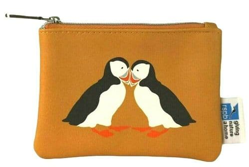 Puffin Purse RSPB Coin Pouch Small Mustard Yellow Bird Print Puffins Birds Pink